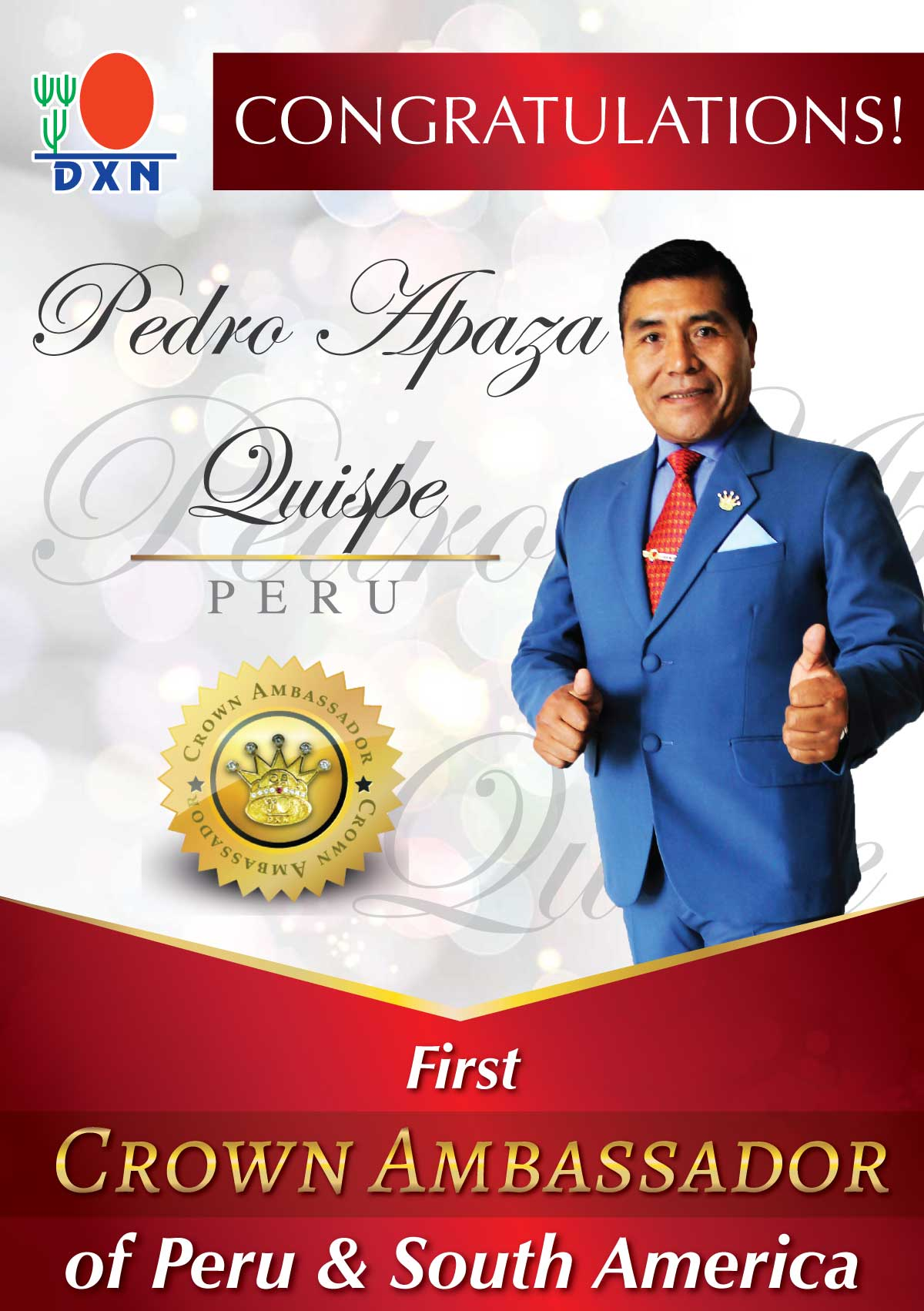 <h4>Congratulations Pedro Apaza Quispe First Crown Ambassador of Peru and South America!</h4> <p><em><strong>Congratulations Pedro Apaza Quispe First Crown Ambassador of Peru and South America!</strong></em></p>
